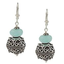 Charming Life Sterling Silver Aqua Quartz Balinese Style Earrings