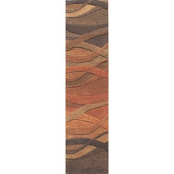 Alliyah Handmade Multi Abstract New Zealand Blend Wool Rug (2' x 8')