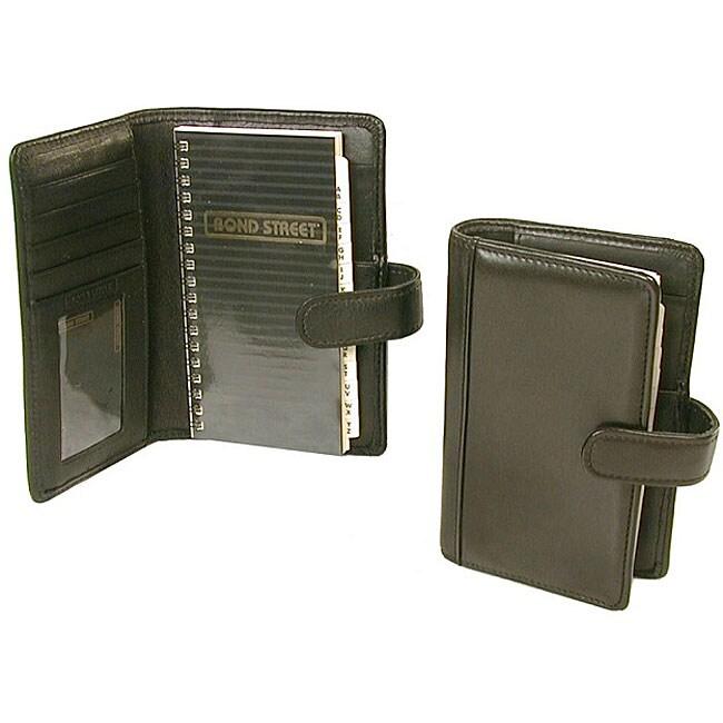 'Hunter' Black Leather Tab-close Pocket Organizer