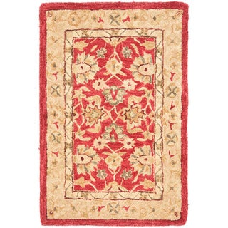 Safavieh Handmade Traditional Mahal Ancestry Red/ Ivory Wool Rug (2' x 3')