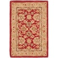 Handmade Traditional Mahal Ancestry Red/ Ivory Wool Rug (2' x 3')