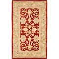 Handmade Ancestry Red/ Green Wool Rug (3' x 5')