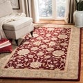 Handmade Ancestry Red/ Green Wool Rug (9'6 x 13'6)