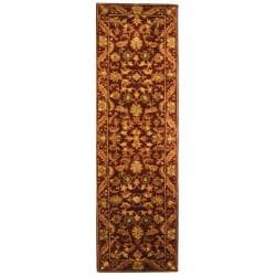 Handmade Exquisite Wine/ Gold Wool Runner (2'3 x 16')