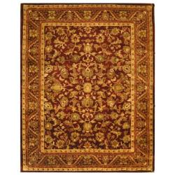 Handmade Exquisite Wine/ Gold Wool Rug (12' x 15')