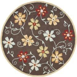 Handmade Blossom Daisies Brown Wool Rug (6' Round)