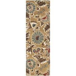Handmade Blossom Floral Beige Wool Rug (2'3 x 8')