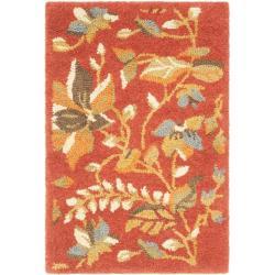 Handmade Blossom Botanical Rust Wool Rug (2'6 x 4')