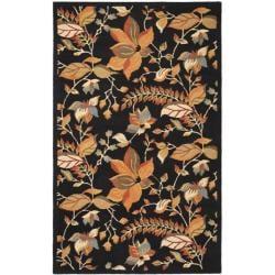 Safavieh Handmade Blossom Botanical Black Wool Rug (8'9 x 12')