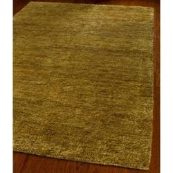 Hand-knotted Vegetable Dye Solo Carmel Hemp Rug (5' x 8')