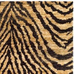 Safavieh Hand-knotted Vegetable Dye Tiger Beige/ Black Rug (4' x 6')