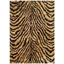 Hand-knotted Vegetable Dye Tiger Beige/ Black Rug (8' x 10')