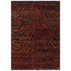 Hand-knotted Vegetable Dye Tiger Red/ Black Rug (9' x 12')