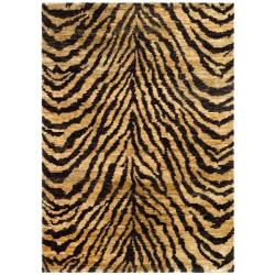 Hand-knotted Vegetable Dye Tiger Beige/ Black Rug (9' x 12')
