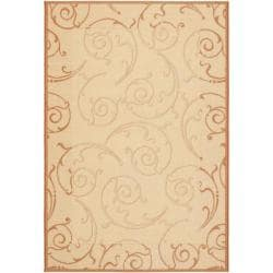 Indoor/ Outdoor Oasis Natural/ Terracotta Rug (8' x 11'2)