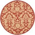 Indoor/ Outdoor Seaview Red/ Natural Rug (6'7 Round)