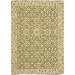 "Indoor/Outdoor Green/Creme Area Rug (6'7"" x 9'6"")"
