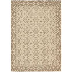 "Indoor/Outdoor Creme/Brown Polypropylene Rug (5'3"" x 7'7"")"