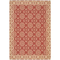 Indoor/ Outdoor Red/ Creme Area Rug (6'7 x 9'6)