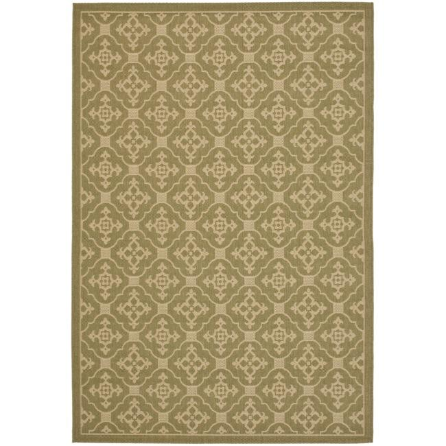 Safavieh indoor outdoor green cream area rug 8 39 x 11 39 2 for Green and cream rugs