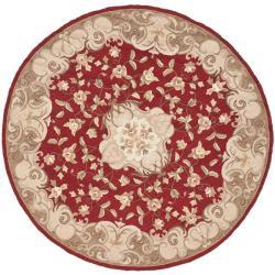 Safavieh Hand-hooked Aubusson Rust/ Sage Polypropylene Rug (6' Round)