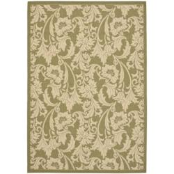 Indoor/ Outdoor Green/ Cream Rug (4' x 5'7)