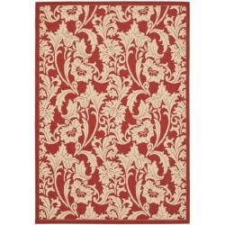 Indoor/ Outdoor Red/ Cream Rug (4' x 5'7)