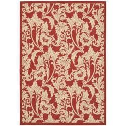Indoor/ Outdoor Red/ Cream Rug (5'3 x 7'7)