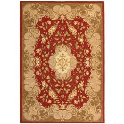 Safavieh Hand-hooked Aubusson Rust/ Sage Polypropylene Rug (3' x 5')