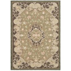 Hand-hooked Aubusson Beige/ Brown Polypropylene Rug (3' x 5')