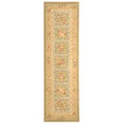 Safavieh Handmade Bouquet Green/ Sand Wool and Silk Runner (2'6 x 8')