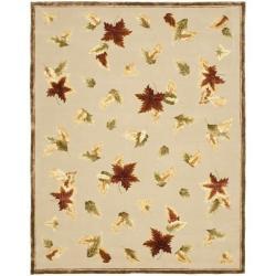 Handmade Autumn Bouquet Beige Wool and Silk Rug (8' x 11')