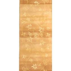 Handmade Vine Stripe Beige Wool and Silk Runner (2'6 x 12')