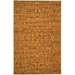 Handmade Irongate Scrolls Wool and Silk Rug (8' x 11')