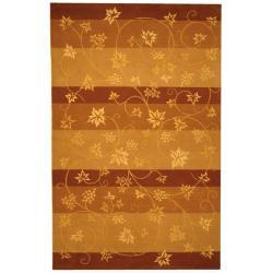 Handmade Vine Stripe Beige Wool and Silk Rug (9'6 x 13'6)