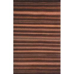 Hand-knotted Lexington Stripes Brown Wool Rug (6' x 9')
