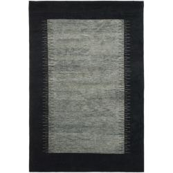 Hand-knotted Gabeh Solo Grey/ Black Wool Rug (6' x 9')