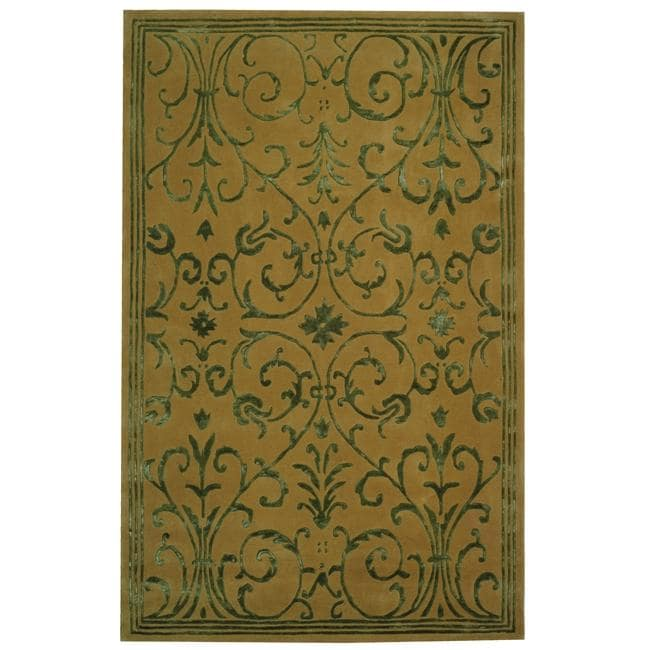 Safavieh Handmade Zen Bouquet Beige/ Sage Wool and Silk Rug (8' x 11')