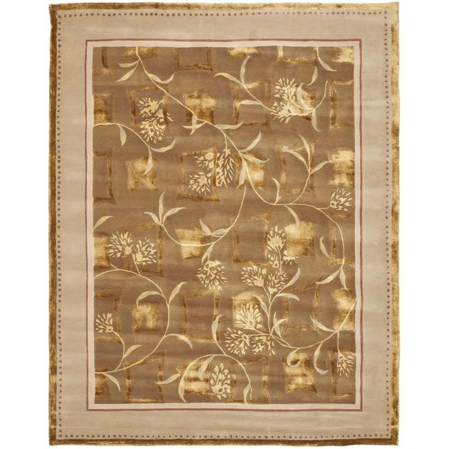 Safavieh Handmade Fall Bouquet Brown Wool and Silk Rug (7'6 x 9'6)