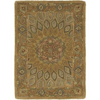 Handmade Heritage Medallion Light Brown/ Grey Wool Rug (2' x 3')