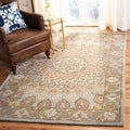 Handmade Heritage Medallion Light Brown/ Grey Wool Rug (2' x 3')