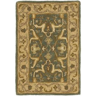 Safavieh Handmade Heritage Kashen Blue/ Beige Wool Rug (2' x 3')