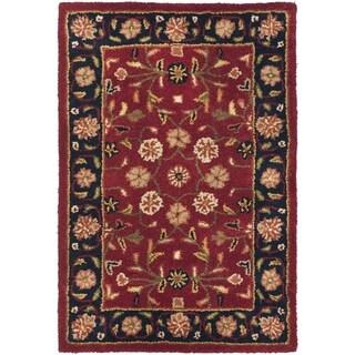 Safavieh Handmade Heritage Birj Red/ Navy Wool Rug (2' x 3')