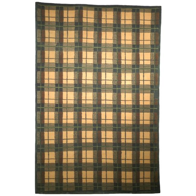 "Safavieh Transitional Hand-Knotted Lexington Beige Plaid Wool Rug (7'6"" x 9'6"")"
