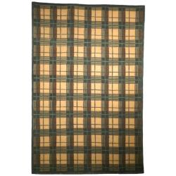 "Transitional Hand-Knotted Lexington Beige Plaid Wool Rug (7'6"" x 9'6"")"