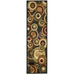 Lyndhurst Collection Circ Black/ Green Runner (2'3 x 12')