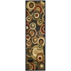 Safavieh Lyndhurst Collection Circ Black/ Green Runner (2'3 x 12')