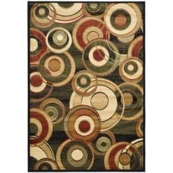 Lyndhurst Collection Circ Black/ Green Rug (9' x 12')