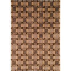 "Hand-Knotted Lexington Beige Plaid Rectangular Wool Rug (7'6"" x 9'6"")"