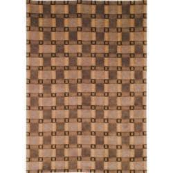 "Safavieh Hand-Knotted Lexington Beige Plaid Rectangular Wool Rug (7'6"" x 9'6"")"
